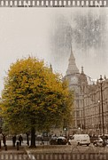 Leaf Digital Art Digital Art Prints - Big Ben in Autumn Print by Stefan Kuhn