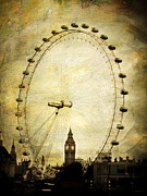 Joan Mccool Posters - Big Ben in the London Eye Poster by Joan McCool