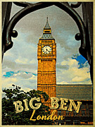 London England  Digital Art - Big Ben London by Vintage Poster Designs