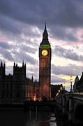 Large Clock Posters - Big Ben Sunset Poster by Jim Chamberlain
