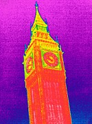 Thermography Framed Prints - Big Ben, Uk, Thermogram Framed Print by Tony Mcconnell