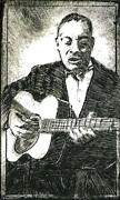 Drypoint Mixed Media - Big Bill Broonzy by Gordon Talley