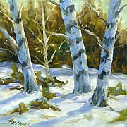 Winter Trees Painting Metal Prints - Big Birches In Winter Metal Print by Richard T Pranke