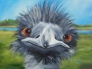 Ostrich Painting Framed Prints - Big Bird - 2007 Framed Print by Torrie Smiley