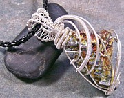 Sparkly Jewelry - BIG Bismuth Crystal and Silver Wire-Wrapped Pendant by Heather Jordan