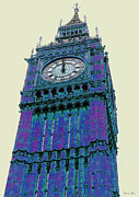 London Pyrography Prints - BIG blue BEN Print by Beth Saffer