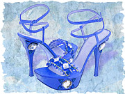Stilettos Paintings - Big Blue Bling  by Elaine Plesser