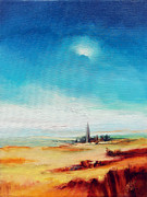 Norfolk; Painting Prints - Big Blue Sky - Steeple Print by C J Elsip 