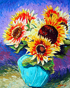 Sun Flowers Framed Prints - Big Bouquet For My Sweety Framed Print by Charlie Spear