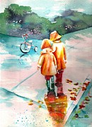 Children Walking Away Posters - Big Brother Poster by Sharon Mick