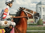 Kentucky Derby Painting Metal Prints - Big Brown at Churchill Metal Print by Thomas Allen Pauly