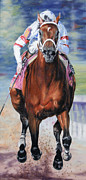 Kentucky Derby Paintings - Big Brown Charging Down the Stretch by Thomas Allen Pauly