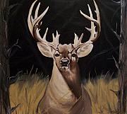Deer Posters - Big Buck Paintings Poster by Mikayla Henderson
