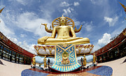 Sacred Digital Art Originals - Big Buddha in Wat Phra Yai Temple Koh Samui island by Anek Suwannaphoom