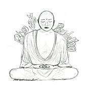 Buddha Sketch Prints - Big Buddha Print by Tessa Hunt-Woodland