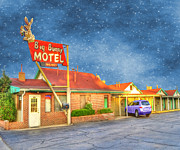 Denver Colorado Posters - Big Bunny Motel Poster by Juli Scalzi