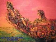 Wooden Ship Jewelry Prints - Big Chief and Designer in a Red Sky Print by Whitey Martin