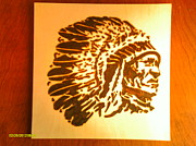 Indian Pyrography Framed Prints - Big Chief Framed Print by Timothy Wilkerson