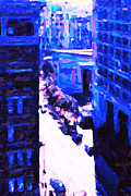 Hyatt Hotel Digital Art Prints - Big City Blues 2 Print by Wingsdomain Art and Photography