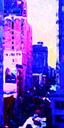 Hyatt Hotel Digital Art Prints - Big City Blues Print by Wingsdomain Art and Photography