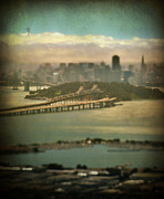 Bay Bridge Digital Art Prints - Big City Dreams Print by Laurie Search