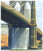 American City Scene Digital Art - Big City Waterfall Bridge Scene by Pic to Art Davis