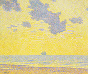 Yellows Painting Framed Prints - Big Clouds Framed Print by Theo van Rysselberghe
