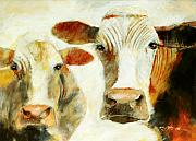 Beige Paintings - Big Cow Little Cow by Ron Patterson