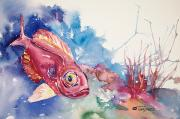 Underwater View Painting Posters - Big Eye Squirrelfish Poster by Tanya L Haynes - Printscapes