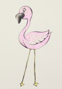 Flamingo Drawings Prints - Big Eyes Print by Tessa Easley