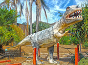 Outdoor Metal Sculpture Art - Big Fake Dinosaur - T-Rex by Gregory Dyer