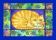 Pamela Corwin Art - Big Fat Cat by Pamela  Corwin