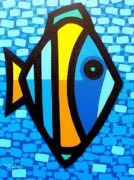 Exotic Fish Paintings - Big Fish At Swim by John  Nolan