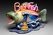 Ceramic Mixed Media - Big Fish Diner  by Jerry  Berta
