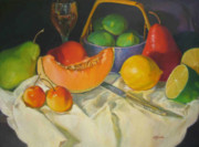 Cantaloupe Paintings - Big Fruit by Betty Jacobs