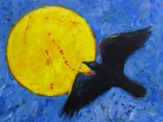 Raven Moon Prints - Big Full Moon and Raven Print by Carol Suzanne Niebuhr