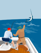Jumping   Digital Art Posters - Big Game Fishing Blue Marlin Poster by Aloysius Patrimonio