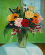 Guest Painting Prints - Big Green Bouquet Print by Jane  Simonson