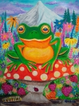 Whimsical Frogs Posters - Big green frog on red mushroom Poster by Nick Gustafson