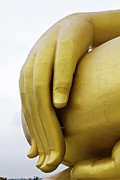 Peace Sculpture Prints - Big hand buddha image Print by Tosporn Preede