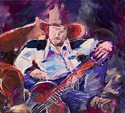 Cowboy Hat Paintings - Big Hat Big Guitar by Ron Patterson