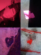 Grid Of Heart Photos Digital Art - Big Hearts Pink Red Purple by Boy Sees Hearts