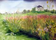 Phlox Painting Framed Prints - Big House on the Prairie Framed Print by Nancy  Ethiel