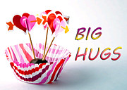Cupcake Love Posters - Big Hugs Poster by Billie-Jo Miller