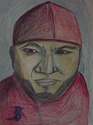Red Sox Drawings Acrylic Prints - Big Papi Acrylic Print by Rebecca Bell