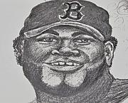 Red Sox Drawings - Big Papi Sketch by Emily Michaud