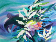 Glow Painting Originals - Big Pike on the Hunt by Kathy Braud