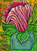 Cheerful Mixed Media Prints - Big Pink Flower Print by Sarah Loft