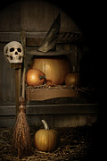 Jack-o-lantern Posters - Big pumpkin with black witch hat and broom Poster by Sandra Cunningham