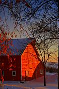 Julie Lueders Artwork Posters - Big red barn Poster by Julie Lueders